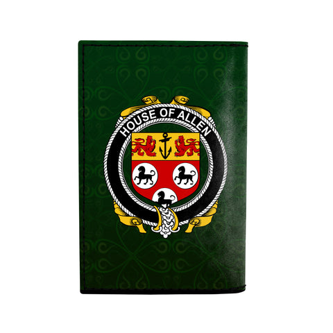 (Laser Personalized Text) Allen Family Crest Minimalist Wallet K6