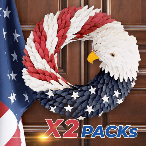 Image of Patriotic American Bald Eagle Wreath, Handcraft American Wreath 2Pack