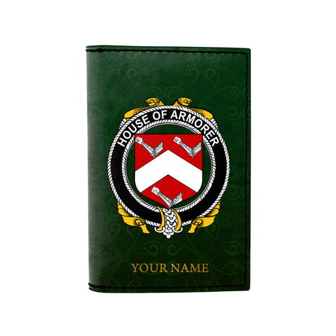 (Laser Personalized Text) Armorer Family Crest Minimalist Wallet