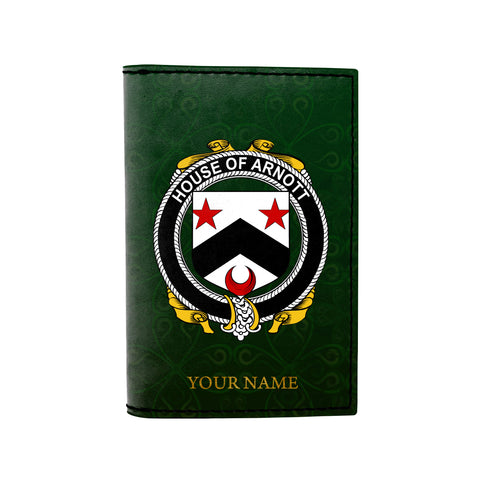 (Laser Personalized Text) Arnott Family Crest Minimalist Wallet