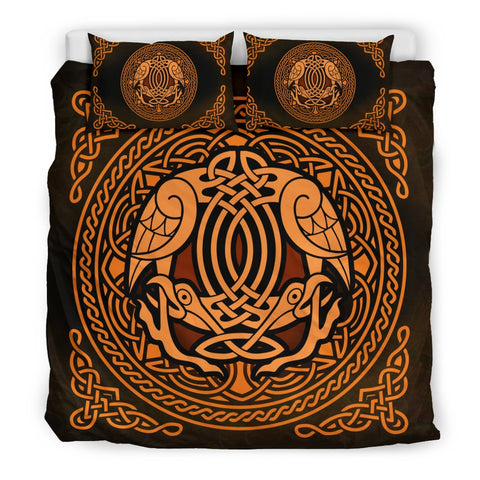 circle, raven, celtic, bedding set, ireland, bird bedding set, celtic bedding set, celtic duvet cover, celtic symbol