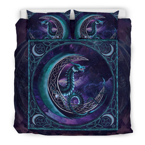 dragon bedding set, celtic bedding set, dragon power duvet cover, dragon on the moon, celtic moon bedding set, dragon wales, scotland celtic