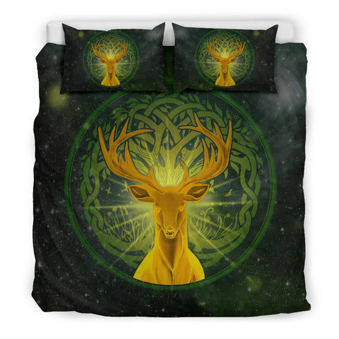 Ireland Deer Bedding Set, Tree Of Life Scann Bethadh Duvet Cover And Pillow Case TH2