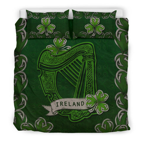 Irish Harp With Shamrock Bedding Set - Dark Green Color 4