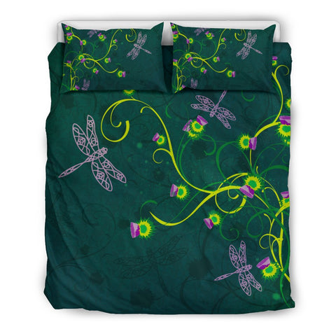 Celtic, Dragonfly, Thistle, Scotland, Scottish, Celtic Dragonfly - Scottish Thistle Bedding Set, Scottish Thistle Duvet Cover