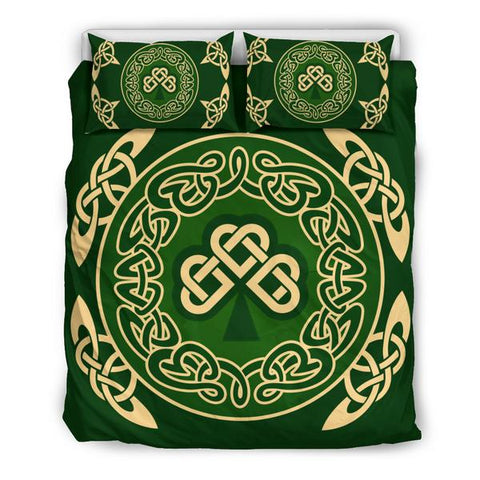 Irish Shamrock Bedding Set, Celtic Knot Duvet Cover And Pillow Case