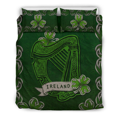 Irish Harp With Shamrock Bedding Set - Dark Green Color 1