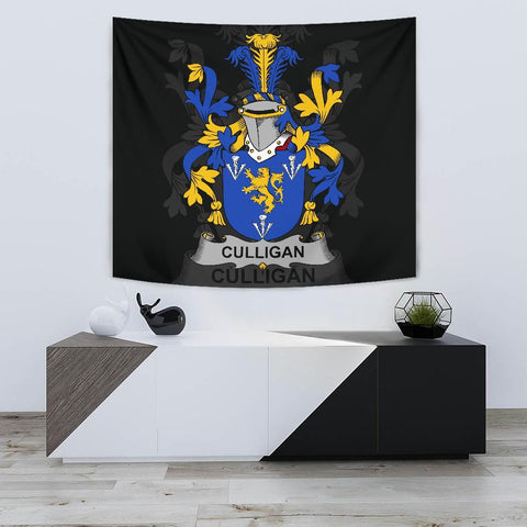 Irish Tapestry, Culligan or McColgan Family Crest Wall Carpet A7
