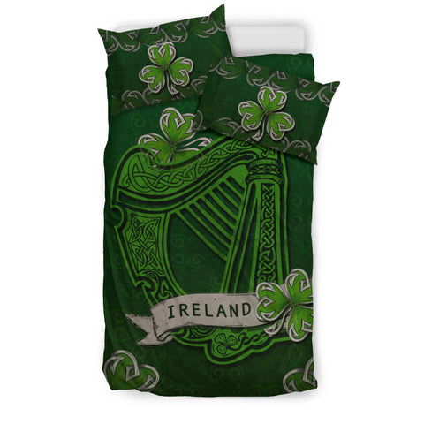 Irish Harp With Shamrock Bedding Set - Dark Green Color 3
