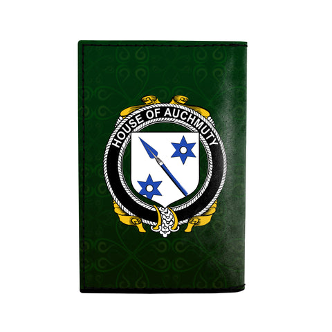 (Laser Personalized Text) Auchmuty Family Crest Minimalist Wallet K6