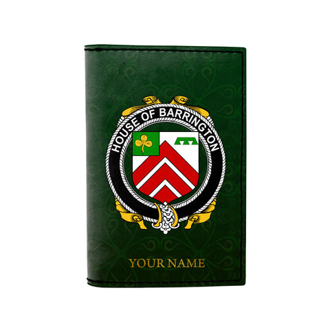 (Laser Personalized Text) Barrington Family Crest Minimalist Wallet