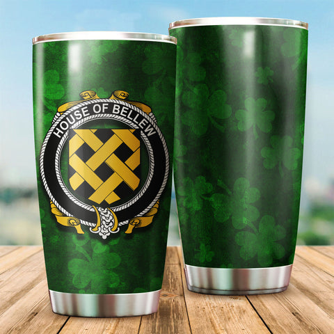 Image of Bellew Family Crest Ireland Shamrock Tumbler Cup K6