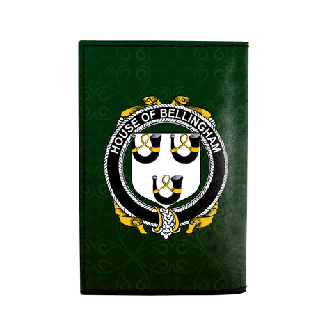 (Laser Personalized Text) Bellingham Family Crest Minimalist Wallet K6
