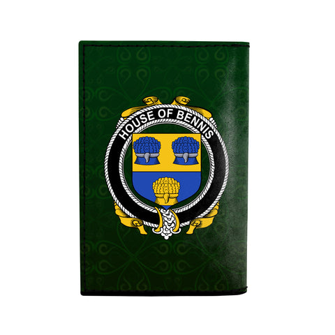 (Laser Personalized Text) Bennis Family Crest Minimalist Wallet K6