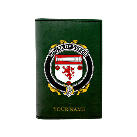 (Laser Personalized Text) Bergin or O'Bergin Family Crest Minimalist Wallet
