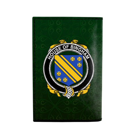 (Laser Personalized Text) Bingham Family Crest Minimalist Wallet K6