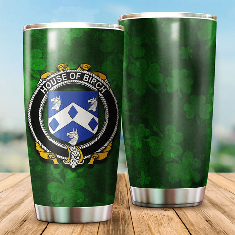 Image of Birch Family Crest Ireland Shamrock Tumbler Cup K K6