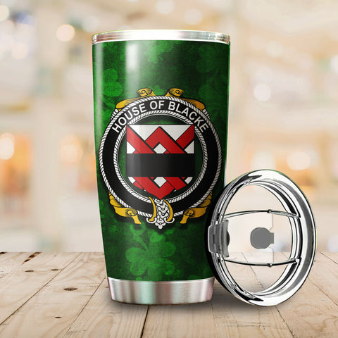 Image of Blacke Family Crest Ireland Shamrock Tumbler Cup K K6