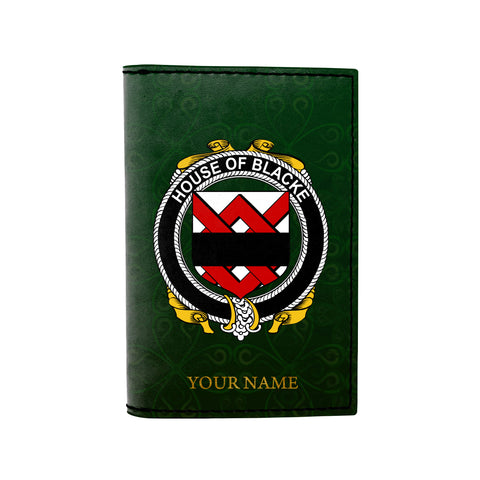 (Laser Personalized Text) Blacke Family Crest Minimalist Wallet