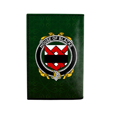 (Laser Personalized Text) Blacke Family Crest Minimalist Wallet K6