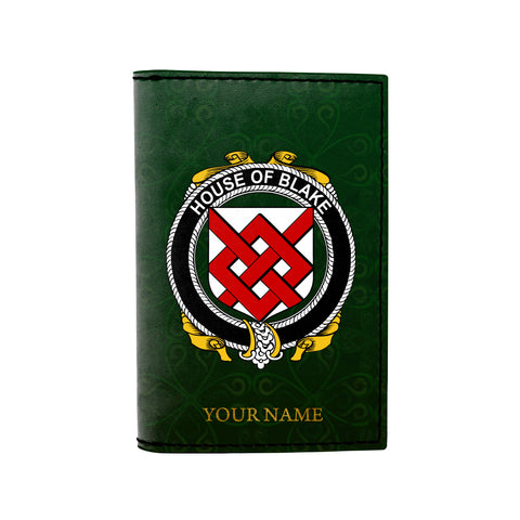 (Laser Personalized Text) Blake Family Crest Minimalist Wallet