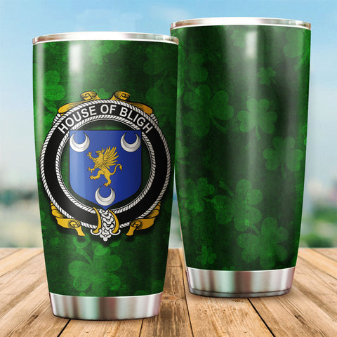 Image of Bligh Family Crest Ireland Shamrock Tumbler Cup K6
