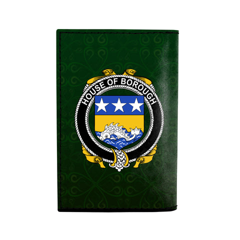 (Laser Personalized Text) Borough Family Crest Minimalist Wallet K6