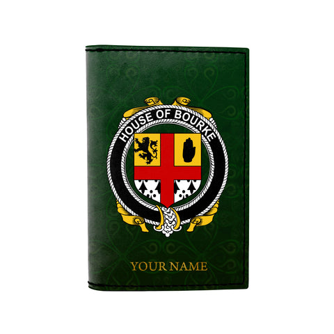 (Laser Personalized Text) Bourke Family Crest Minimalist Wallet