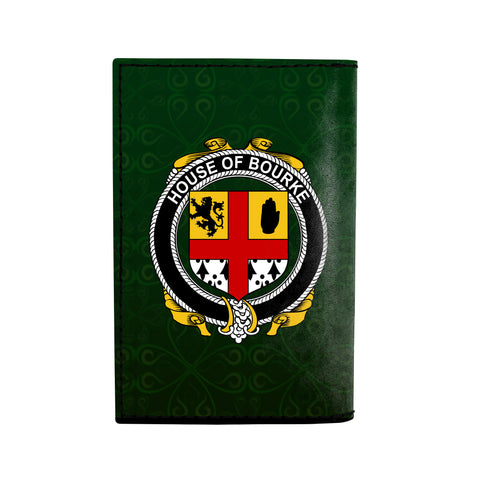 (Laser Personalized Text) Bourke Family Crest Minimalist Wallet K6