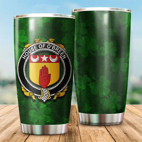 Image of Breen or O'Breen Family Crest Ireland Shamrock Tumbler Cup K6