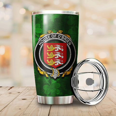 Image of Brien or O'Brien Family Crest Ireland Shamrock Tumbler Cup K6