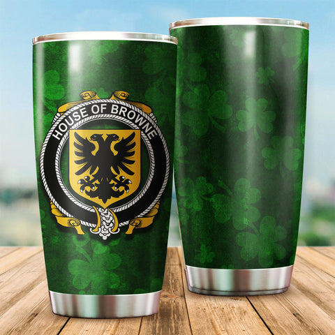 Image of Browne Family Crest Ireland Shamrock Tumbler Cup K6