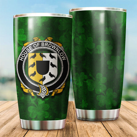Brownlow Family Crest Ireland Shamrock Tumbler Cup K6