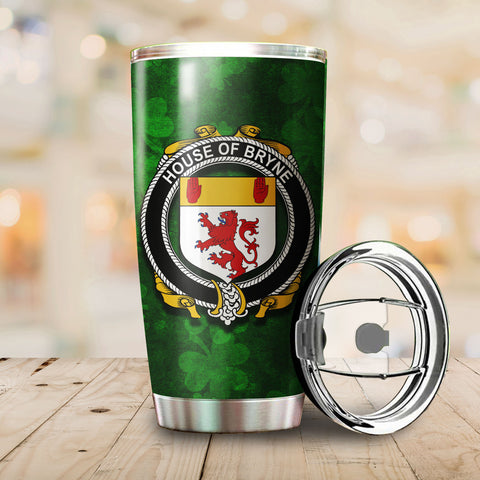 Image of Bryne or Brinn Family Crest Ireland Shamrock Tumbler Cup K6