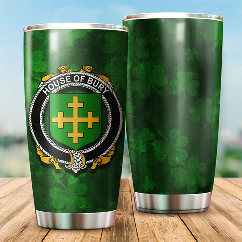 Bury or Berry Family Crest Ireland Shamrock Tumbler Cup K6