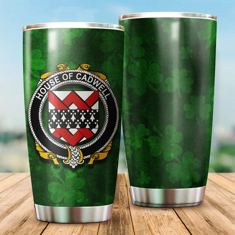 Cadwell or Caddell Family Crest Ireland Shamrock Tumbler Cup K6