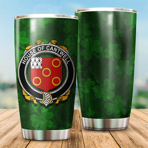 Cantwell Family Crest Ireland Shamrock Tumbler Cup K6