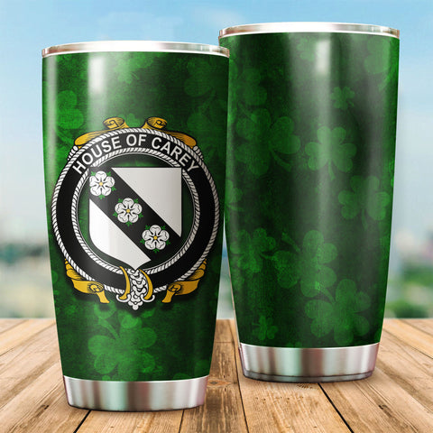 Carey or Cary Family Crest Ireland Shamrock Tumbler Cup K6