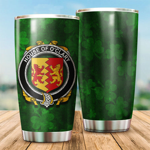 Clary or O'Clary Family Crest Ireland Shamrock Tumbler Cup K6