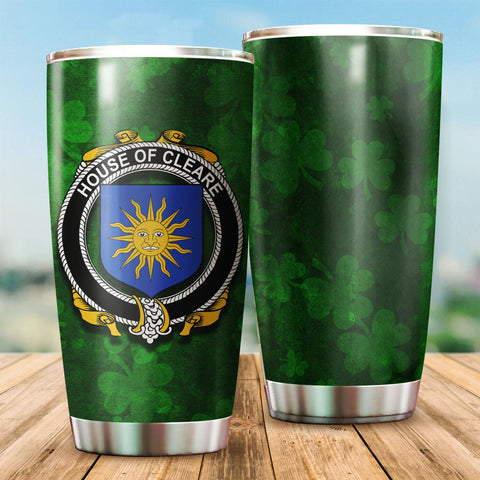 Cleare Family Crest Ireland Shamrock Tumbler Cup K6