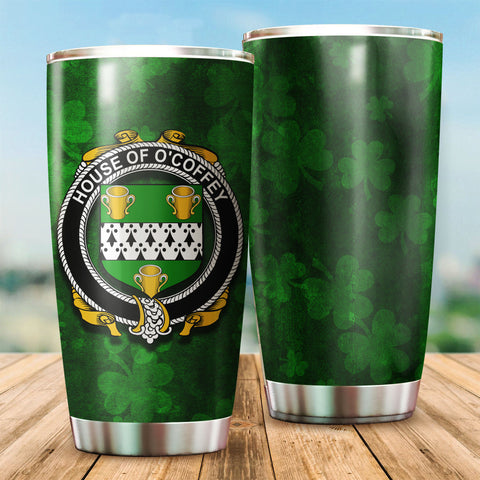 Coffey or O'Coffey Family Crest Ireland Shamrock Tumbler Cup K6