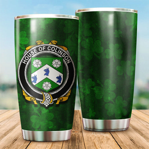 Colinson Family Crest Ireland Shamrock Tumbler Cup K6