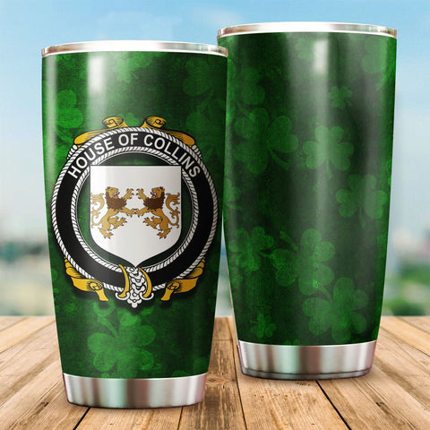 Collins Family Crest Ireland Shamrock Tumbler Cup K6
