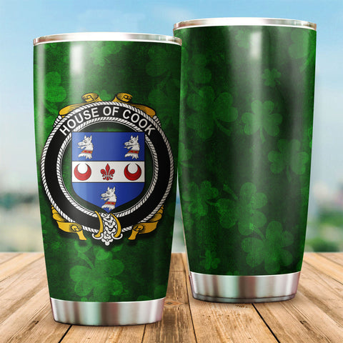 Cook Family Crest Ireland Shamrock Tumbler Cup K6