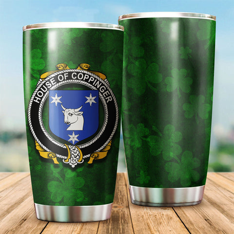 Coppinger Family Crest Ireland Shamrock Tumbler Cup K6