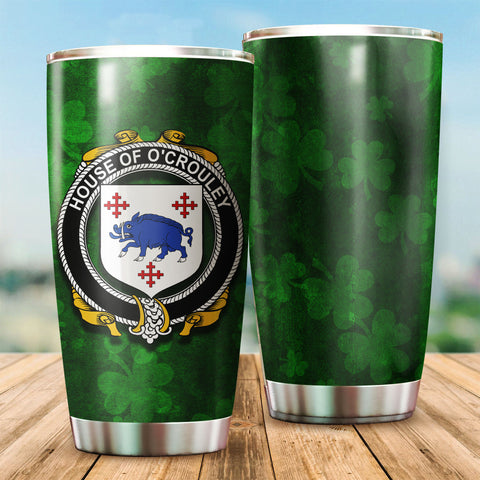 Crowley or O'Crouley Family Crest Ireland Shamrock Tumbler Cup K6