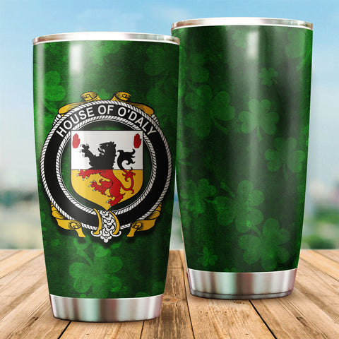 Daly or O'Daly Family Crest Ireland Shamrock Tumbler Cup K6