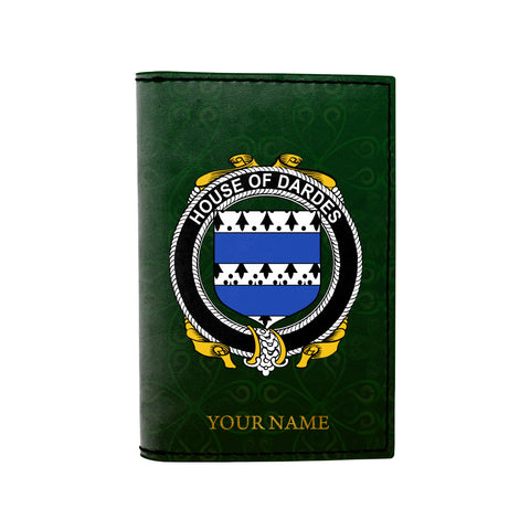 (Laser Personalized Text) Dardes or Dardis Family Crest Minimalist Wallet