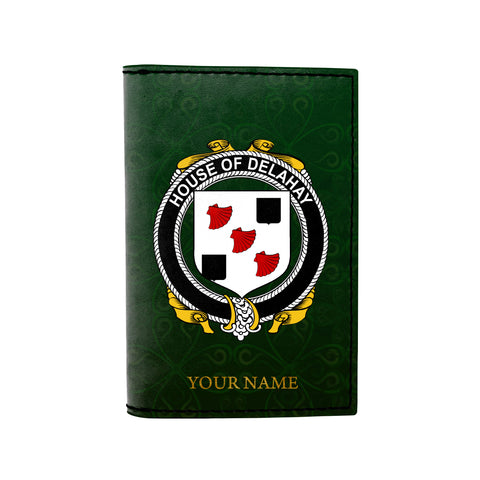(Laser Personalized Text) Delahay Family Crest Minimalist Wallet