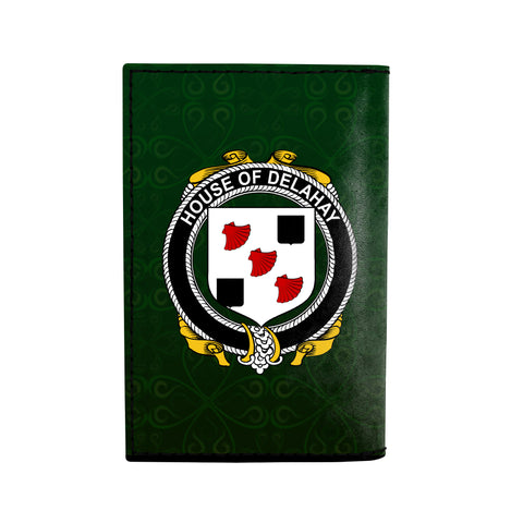 (Laser Personalized Text) Delahay Family Crest Minimalist Wallet K6